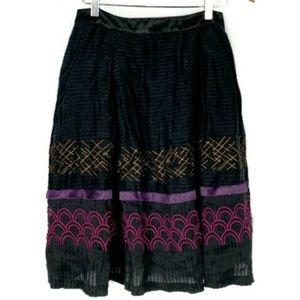 Sundance Embroidered Silk and Linen Circle Skirt 6